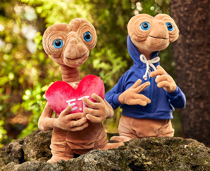 E.T. Plush with Heart and E.T. Plush with Blue Sweatshirt