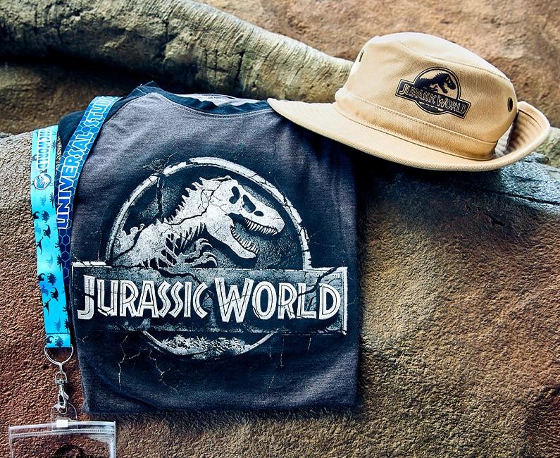Jurassic World Lanyard with Stone Logo Men's T-Shirt and Safari Hat