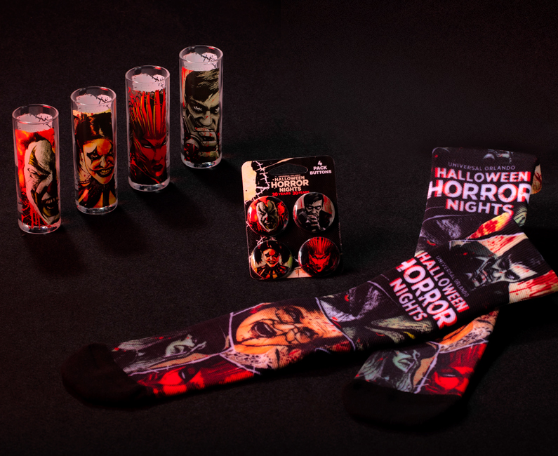 Halloween Horror Nights 2021 Icons 4 Pack Shot Glass Set, Icons Button Set, & Icons Socks