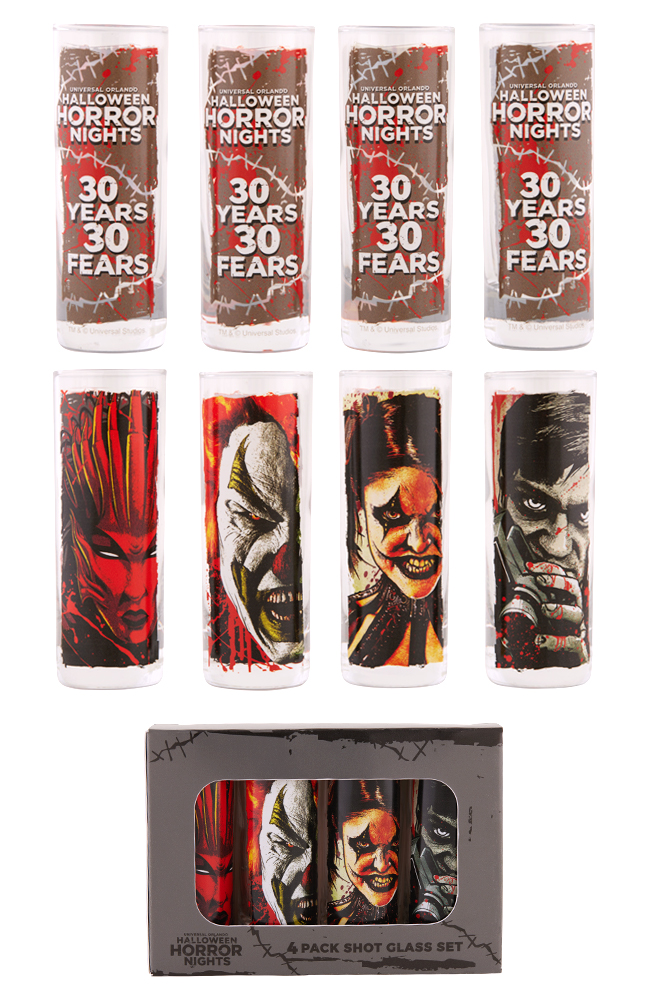 Image for Halloween Horror Nights 2021 Icons 4 Pack Shot Glass Set from UNIVERSAL ORLANDO