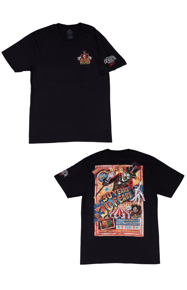 Image for Halloween Horror Nights 2021 Jack 30 Years 30 Fears Adult T-Shirt from UNIVERSAL ORLANDO