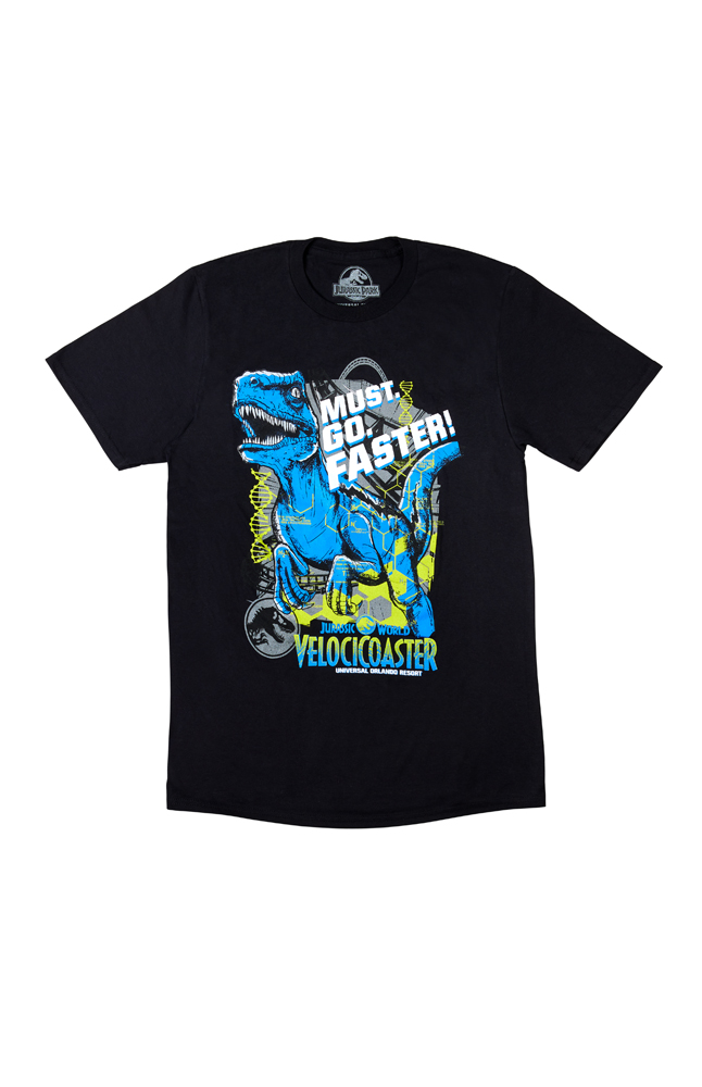 """Image for Jurassic World VelociCoaster """"Must. Go. Faster!"""" Adult T-Shirt from UNIVERSAL ORLANDO"""
