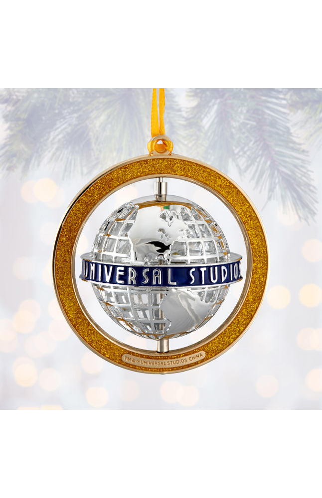 Image for Universal Studios Blue Banner Grid Globe Spinner Ornament from UNIVERSAL ORLANDO