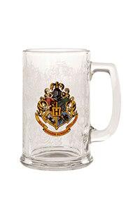 Hogwarts Crest Glass Stein