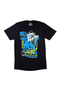 "Jurassic World VelociCoaster ""Must. Go. Faster!"" Adult T-Shirt"